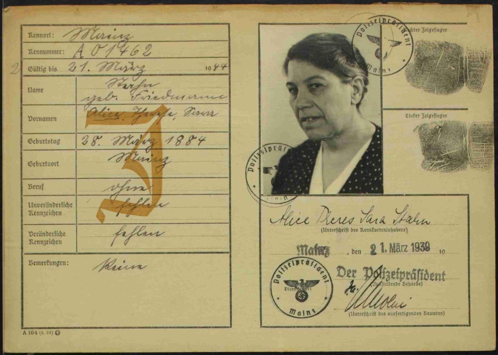 Kennkarte Alice Therese Stahns