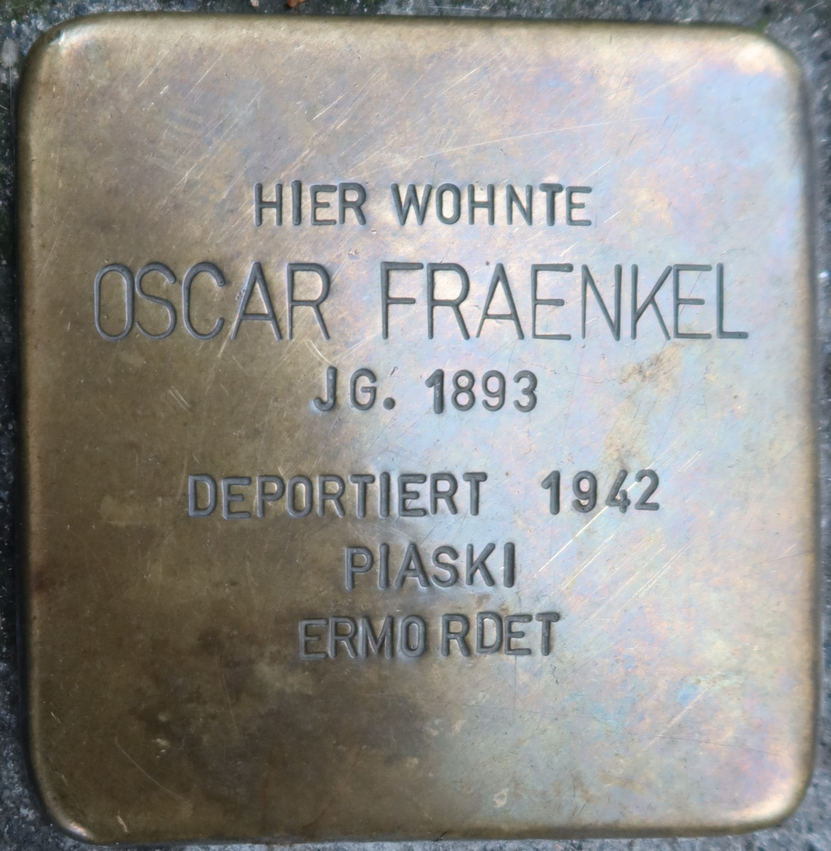 Stolperstein von Oskar Fraenkel